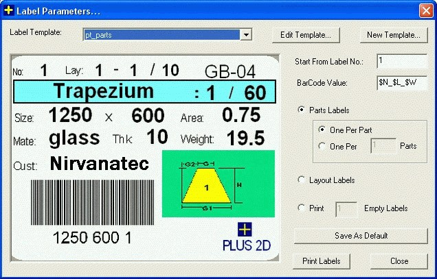 Bar Code Label Module - Plus Label Maker : Insert Parameter